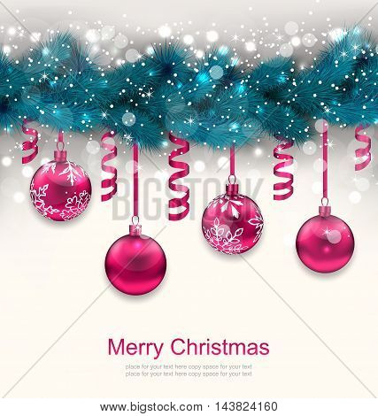 Illustration Holiday Background with Christmas Fir Branches and Glass Balls - Vector