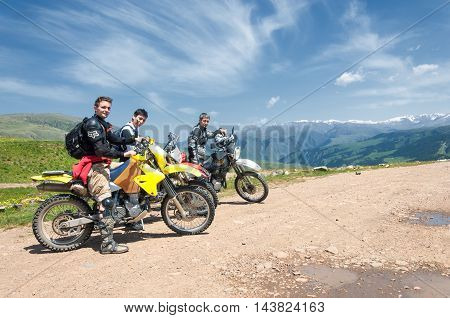 Assy plateau. Tien Shan. Kazakhstan. 15.06 2014 . Country road Rally organized in the mountains.