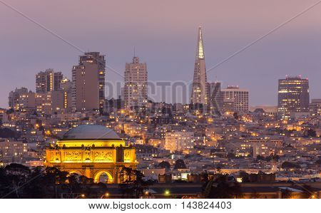 The Palace and San Francisco Skyline. Palace of Fine Arts and Skyline of San Francisco, Dusk