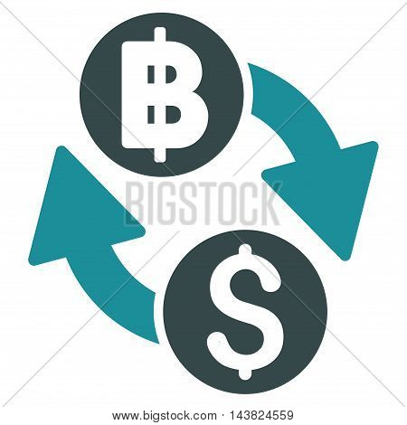 Dollar Baht Exchange icon. Vector style is bicolor flat iconic symbol with rounded angles, soft blue colors, white background.