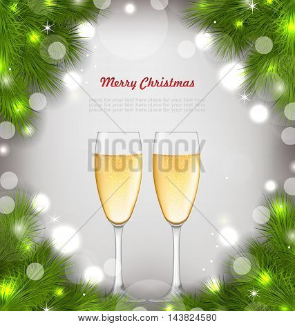Illustration Merry Christmas Background with Glasses of Champagne and Fir Branches - Vector