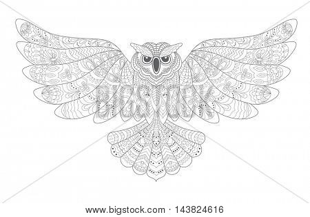 Stylized Decorative  Owl. Drawing for Coloring Book .