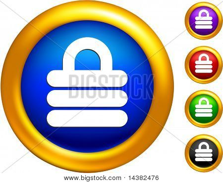 security lock icon on buttons with golden