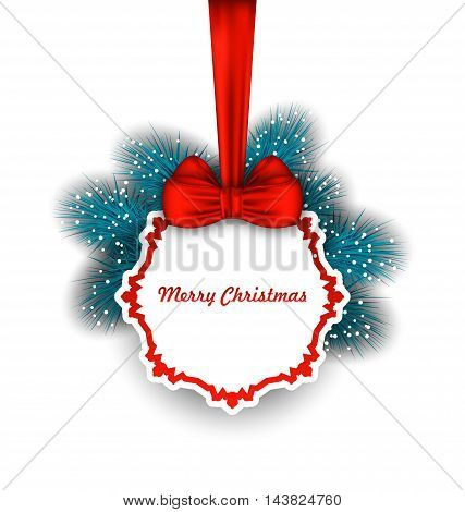 Illustration Christmas Elegant Card with Bow Ribbon and Fir Twigs - Vector