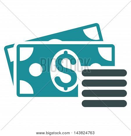 Dollar Cash icon. Vector style is bicolor flat iconic symbol with rounded angles, soft blue colors, white background.