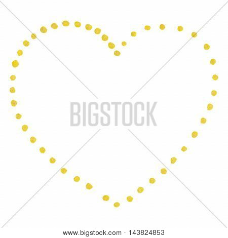 Golden isolated dot heart Saint Valentine's Day