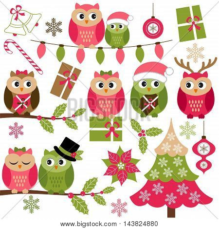 Vector Christmas owls with holly branches Christmas tree and gifts