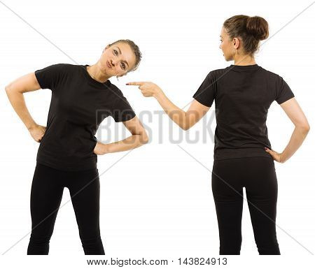 Photo of a woman posing with a blank black t-shirt ready for your artwork or design.