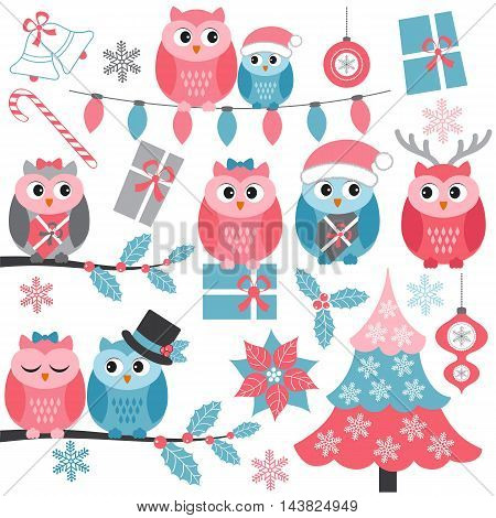 Winter owls set with holly branches Christmas tree gifts and snowflakes