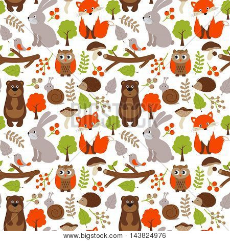 Vector woodland seamless pattern with fox bear rabbit and owl