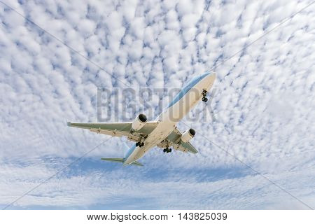 Airplane in the sky Good weather day background