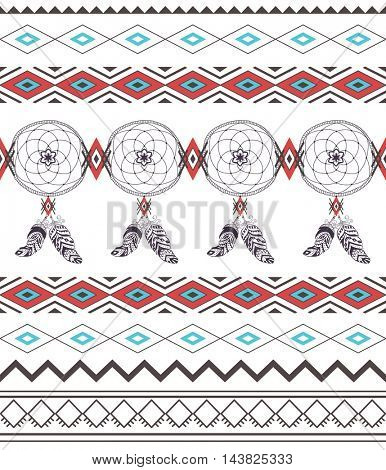 Tribal Boho Seamless Pattern with Dream Catcher. Ethnic Geometric Ornament. Boho  Pattern. Fabric and Wrapping Texture.