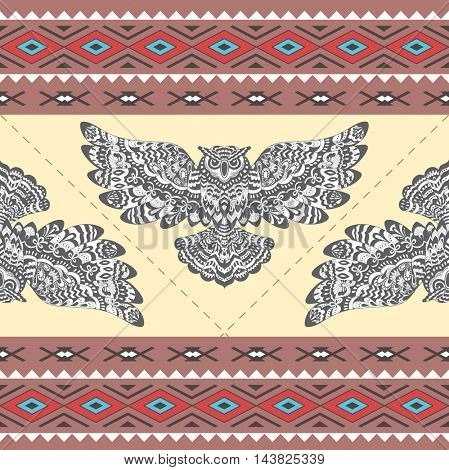 Tribal Boho Seamless Pattern with Owl. Ethnic Geometric Ornament. Boho  Pattern. Fabric, Wallpaper and Wrapping Texture.