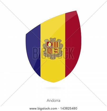 Flag Of Andorra In The Style Of Rugby Icon.