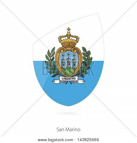 Flag of San Marino in the style of Rugby icon. Vector Illustration.