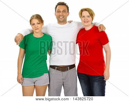 Photo of three people wearing green white and red blank t-shirts as the colours of the flag of Italy. Ready for your design or artwork.