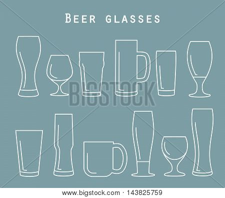 Set of beer glasses in flat style