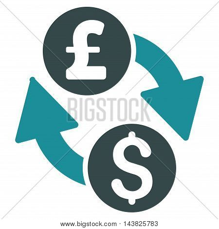 Dollar Pound Exchange icon. Vector style is bicolor flat iconic symbol with rounded angles, soft blue colors, white background.