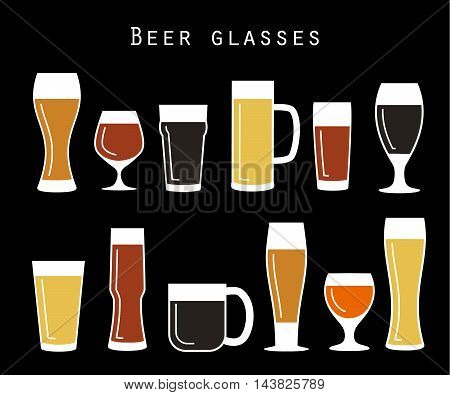 Set of retro beer glasses in flat style