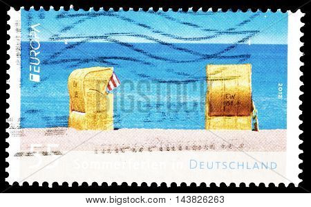 GERMANY - CIRCA 2012 : Cancelled postage stamp printed by Germany, that shows Beach.