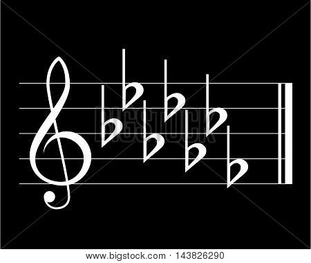Flat key signature, white on black background