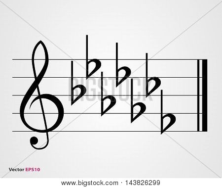 Flat key signature, black on gray background