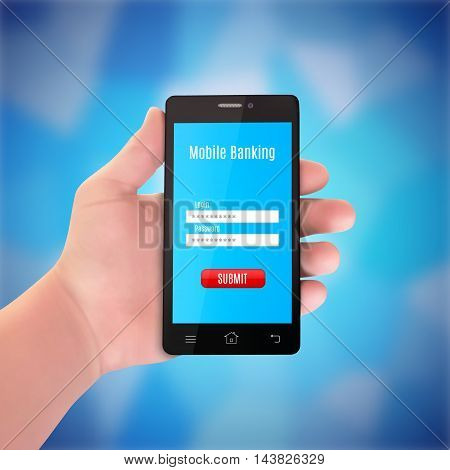 Man hand holding a smartphone. Mobile banking concept. EPS10 vector