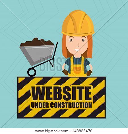 woman website under construction avatar vector illustration design