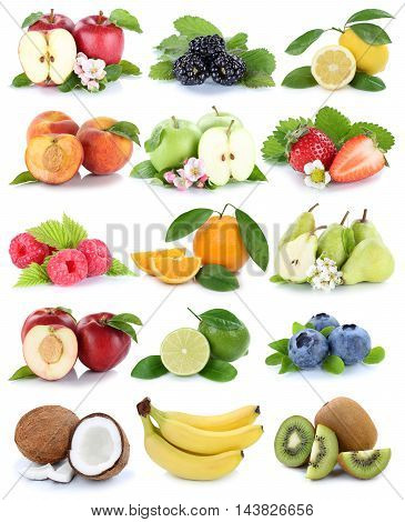 Fruits Apple Orange Berries Apples Oranges Banana Fresh Fruit Strawberry Collection Isolated