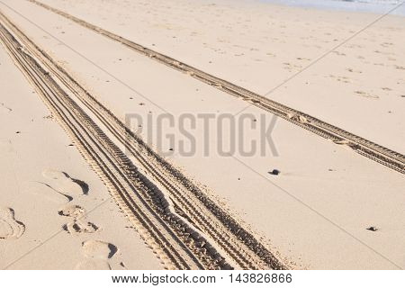 car track on sand in desert