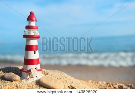 Miniature lighthouse at the beach