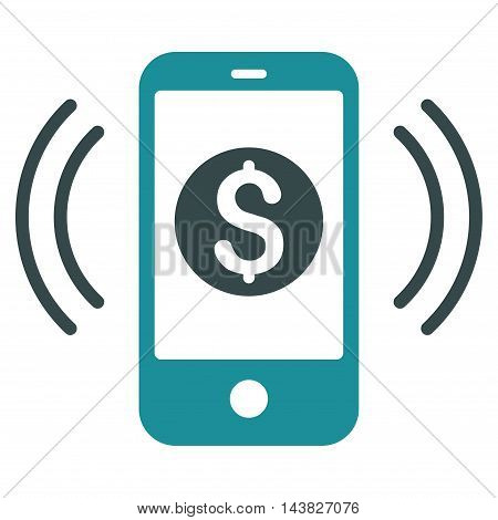 Payment Phone Ring icon. Vector style is bicolor flat iconic symbol with rounded angles, soft blue colors, white background.