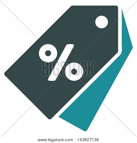Percent Discount Tags icon. Vector style is bicolor flat iconic symbol with rounded angles, soft blue colors, white background.