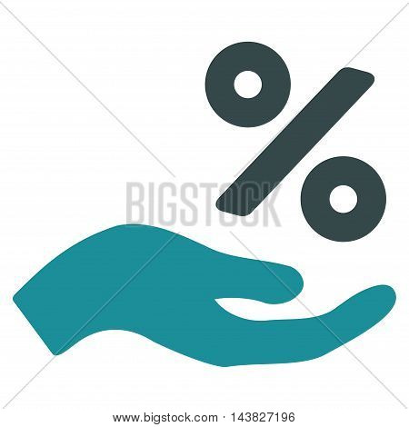 Percent Offer Hand icon. Vector style is bicolor flat iconic symbol with rounded angles, soft blue colors, white background.