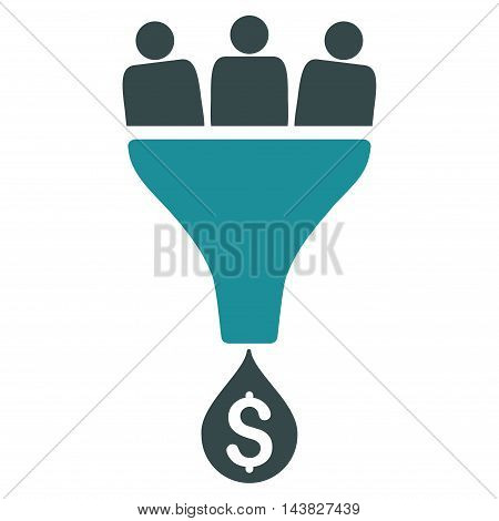 Sales Funnel icon. Vector style is bicolor flat iconic symbol with rounded angles, soft blue colors, white background.