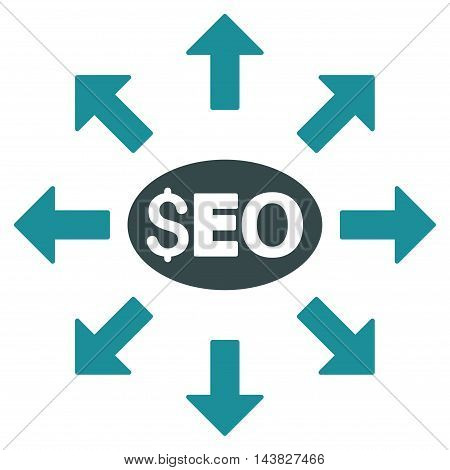 Seo Distribution icon. Vector style is bicolor flat iconic symbol with rounded angles, soft blue colors, white background.