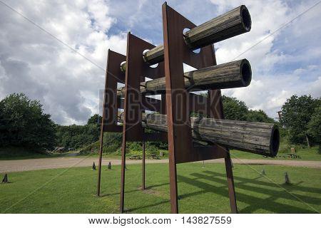 VEJLE DENMARK - AUGUST 22 2016: Robert Jacobsen (1912-1993) Landscape Sculpture