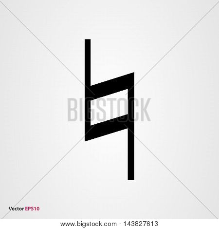 Black musical symbol natural in flat style