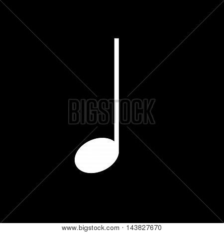 Quarter music note vector icon in flat style