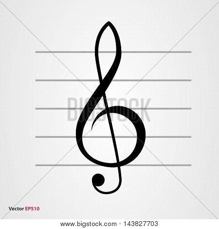 Treble clef vector icon with gray staff
