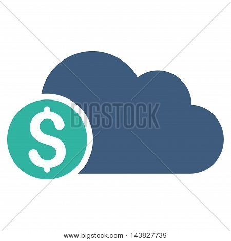 Banking Cloud icon. Vector style is bicolor flat iconic symbol with rounded angles, cobalt and cyan colors, white background.