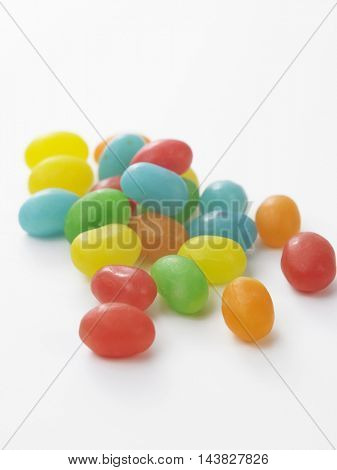 jelly beans on the white background