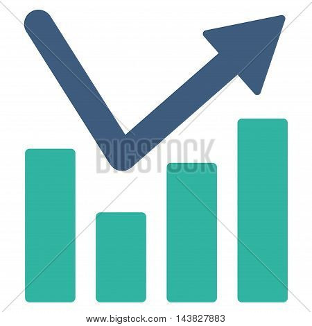 Bar Chart Trend icon. Vector style is bicolor flat iconic symbol with rounded angles, cobalt and cyan colors, white background.
