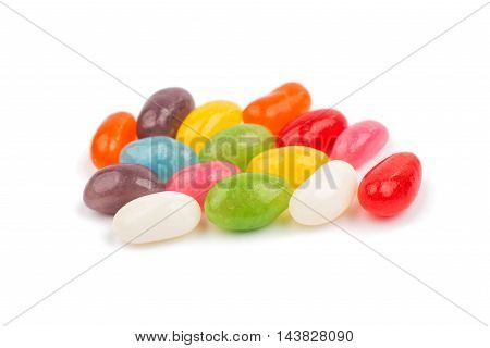 color fruit Jelly Beans on white background
