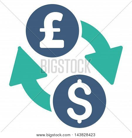 Dollar Pound Exchange icon. Vector style is bicolor flat iconic symbol with rounded angles, cobalt and cyan colors, white background.