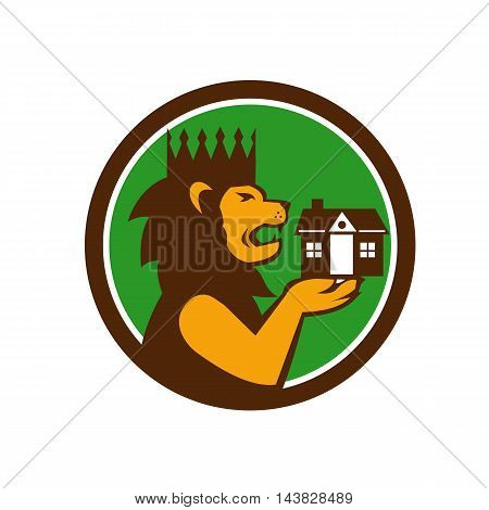 Illustration of a king lion with crown holding house with its paw viewed from the side set inside circle done in retro style.