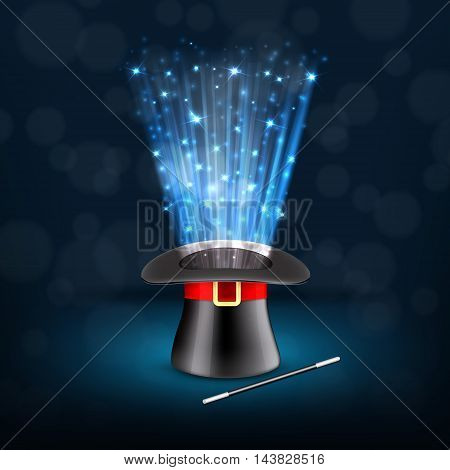 Conjurer hat with magical glow. EPS10 vector