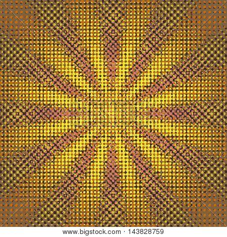 Grunge sunburst halftone vector illustration