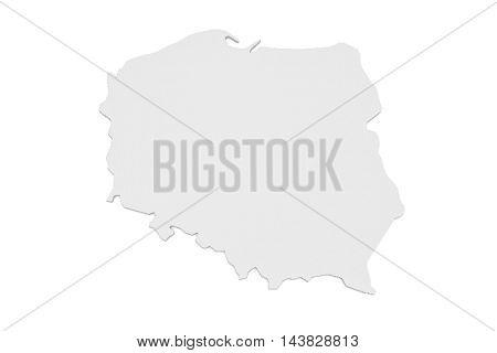 3d Illustration of Poland Map Isolated On White Background