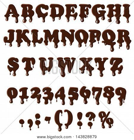 Chocolate alphabet with numbers isolated on white background. English font in chocolate texture set collection vector illustration